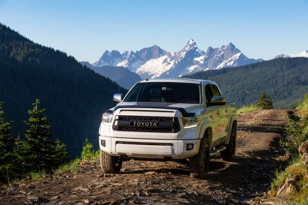 Toyota truck heading off-road